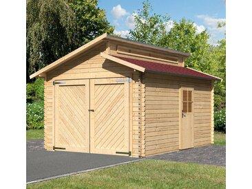 Karibu KARIBU Einzel-Garage »Kalle«, BxT: 360x489 cm, Einfahrtshöhe: 193 cm, mit Dachschindeln, natur, natur