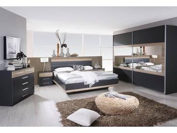rauch PACK´S Schlafzimmer-Set »Tarragona«, 4-teilig, grau, graumetallic/eichefarben San Remo