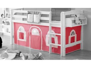 Ticaa Vorhang-Set, Landhausoptik, rosa, rosa-weiß