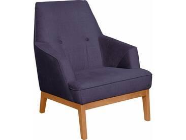 TOM TAILOR Sessel »COZY«, im Retrolook, mit Kedernaht und Knöpfung, Füße Buche natur, lila, purple STC 18