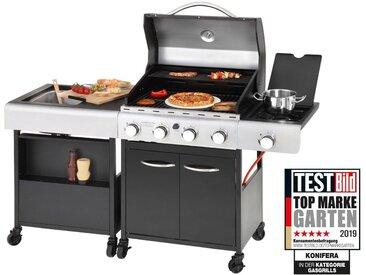 KONIFERA Gasgrill »LANGLEY«, BxTxH: 157x53x108 cm, inkl. Pizzastein und Küchenwagen, schwarz, schwarz