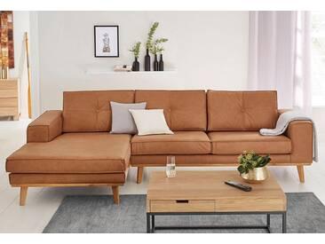 Guido Maria Kretschmer Home&Living GMK Home & Living Polsterecke »Janis«, Leinen oder NaturLEDER mit Eichen-Füßen und Außennaht, braun