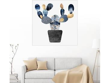 Posterlounge Wandbild - Elisabeth Fredriksson »Blue And Gold Cactus«, weiß, Alu-Dibond, 120 x 120 cm, weiß
