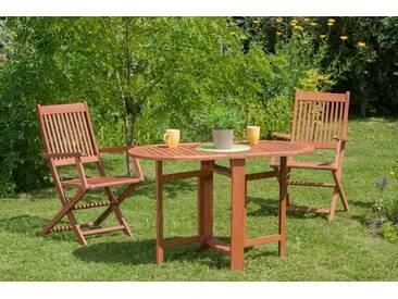 MERXX Gartenmöbelset »Rio«, 3tlg., 2 Sessel, Tisch, klappbar, Eukalyptus, natur, natur