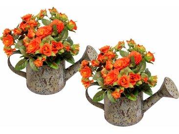 Kunstpflanze »Wildrosen in Gießkanne« (2er Set)« (Set, 2 Stück), orange, orange