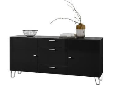 LEONARDO living Sideboard »CUBE« auf Designfüßen, mit 2 Türen und 3 Schubladen, Breite 189 cm, schwarz, schwarz