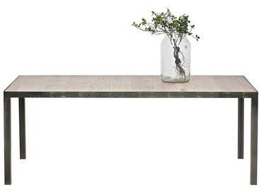 Pharao24 Esstisch »Garanca«, aus Massivholz, braun, ohne Auszug, Tischplatte: Massivholz, Gestell: Metall, Tischplatte: Massivholz, Gestell: Metall, 198x90 cm, Eichefarben