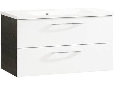 FACKELMANN Waschtischunterbau »Vadea«, Breite 89,5 cm, weiß, piniefarben anthrazit/weiß