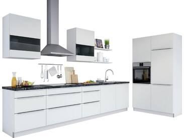 set one by Musterring Küchenzeile »Siena«, mit E-Geräten, Breite 330 cm, vormontiert, weiß, weiß