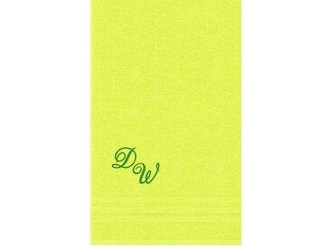 Lashuma Badetuch »London«, XXL Handtuch mit Monogramm Stick, Saunatuch 100x150 Personalisiert, grün, kiwi