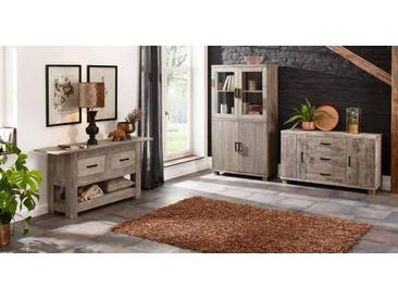 Home affaire Vitrine »Selina« im extravaganten Design, Höhe 180 cm, grau, grau gewachst