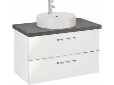 OPTIFIT Waschtisch »Doha«, mit Soft-Close-Funktion, Aufsatzbecken rund, weiß, hochglänzend, weiß Hochglanz