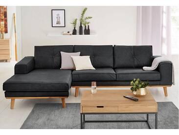Guido Maria Kretschmer Home&Living GMK Home & Living Polsterecke »Janis«, Leinen oder NaturLEDER mit Eichen-Füßen und Außennaht, schwarz