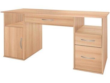 Wilmes Nähmaschinen-Schreibtisch mit 4 Fächern, Maße145x60x72,5 cm, braun, buchefarben
