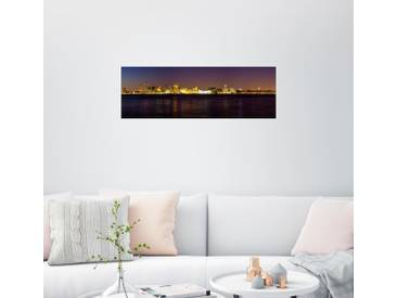 Posterlounge Wandbild - Thomas Hagenau »Liverpool Skyline bei Nacht Panorama«, schwarz, Alu-Dibond, 150 x 50 cm, schwarz