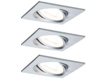 Paulmann LED Einbaustrahler »schwenkbar Nova eckig 3x6,5W Alu gedreht«, 3-flammig, silberfarben, 3 -flg. /, aluminiumfarben