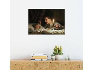 Posterlounge Wandbild - Albert Anker »Junge Mutter«, grau, Holzbild, 170 x 120 cm, grau