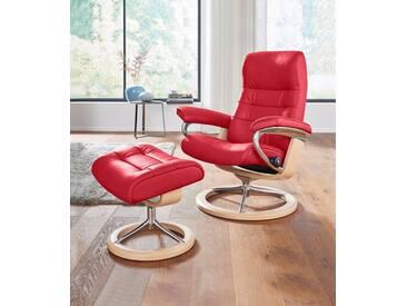 Stressless® Set: Relaxsessel mit Hocker »Opal« mit Signature Base, Größe L, mit Schlaffunktion, rot, Fuß naturfarben, chilli red