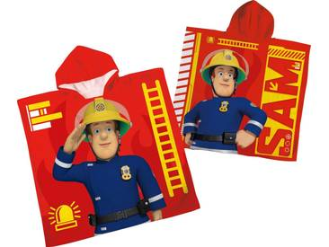 Feuerwehrmann Sam Badeponcho »«, mit Kapuze, rot, Velours, rot