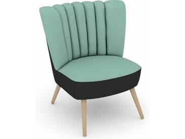 Max Winzer® build-a-chair Stuhlsessel »Aspen« im Retrolook, zum Selbstgestalten, blau, Korpus: Flachgewebe 16452 schwarz, Flachgewebe 16452 aqua