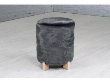 Home affaire Hocker, rund, mit kleinen Füßen aus Holz, grau, anthrazit