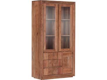Gutmann Factory Vitrine »Timber« aus massivem Akazienholz mit vier Türen, Höhe 190 cm, natur, Akazie