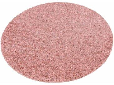 Home affaire Hochflor-Teppich »Shaggy 30«, rund, Höhe 30 mm, rosa, rosé