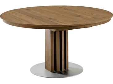 VENJAKOB Säulen-Esstisch mit Auszugsfunktion »picasa«, runde Tischplatte, in 2 Größen, natur, Breite 140 cm, Anziano Eiche furniert