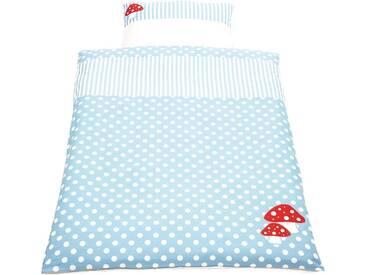Pinolino® Babybettwäsche »Glückspilz«, mit aufwendingen Applikationen, blau, 1x 100x135 cm, Perkal, hellblau