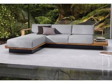 ADA premium Ecksofa »HUDSON«, mit eleganten Massivholz-Elementen, grau, 310 cm, Recamiere links, hellgrau TBB 9