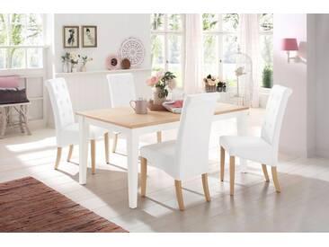 Home affaire Tisch »Cisa« mit gerader Beinform, weiß, 160/90 cm, weiß-natur