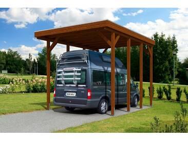 Skanholz SKANHOLZ Einzelcarport »Friesland«, BxT: 397x555 cm, für Caravan, braun, 469 cm, nussbaum