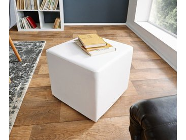 DELIFE Sitzhocker Dado 45x45 cm Hocker Sitzwürfel Würfelhocker, weiß, Weiß