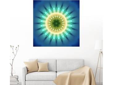 Posterlounge Wandbild - Christine Bässler »Mandala blaues Licht mit Blume des Lebens«, blau, Holzbild, 120 x 120 cm, blau