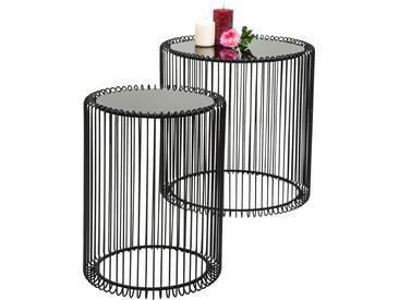 KARE Design Beistelltisch »Wire« (2er-Set), schwarz, Maße (H/Ø): 42,5/32,5 cm und 45/44 cm, schwarz