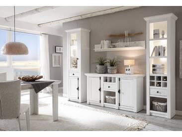 Home affaire Wohnwand »California«, (Set, 4-tlg), bestehend aus Standregal, Vitrine, Sideboard, Wandregal, weiß, pinie weiß