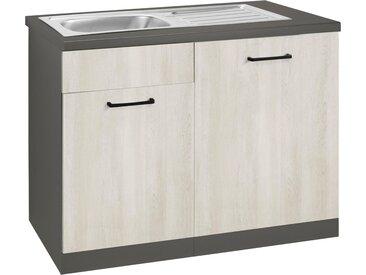wiho Küchen Spülenschrank »Esbo« 110 cm breit, inkl. Tür/Sockel für Geschirrspüler, natur, Wilton Oak/Anthrazit