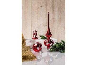 HGD Holz-Glas-Design Glaskugelsortiment Dekor 39teilig, rot, Rot