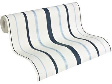 Brigitte home Vliestapete, Brigitte Home, »Streifentapete«, weiß, reinweiß-graublau-pastellblau