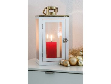 HGD Holz-Glas-Design Dekoset Laterne, Glaskugeln und Engelshaar, goldfarben, Gold