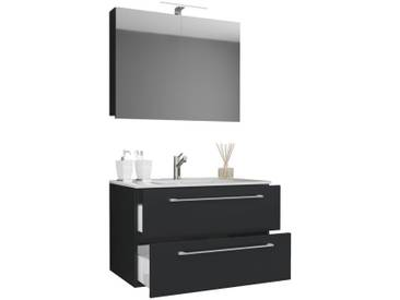 VCM 3-tlg. Waschplatz mit Spiegelschrank Badinos, schwarz, Breite 80 cm Schwarz