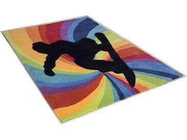 THEKO Teppich »Snowboarder«, rechteckig, Höhe 14 mm, Hochwertiges Acrylgarn, Handgearbeiteter Reliefschnitt (Carving), Filigraner Konturenschnitt, bunt