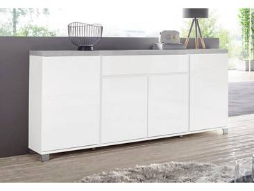 HMW Sideboard »Thila«, Breite 193 cm 4-türig, weiß, weiß Hochglanz/Beton-Optik