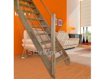Starwood STARWOOD Raumspartreppe »Rhodos«, offene Stufen, gerade, Holz-Edelstahlgeländer links, natur, gerade, natur