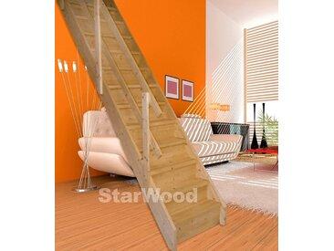 Starwood STARWOOD Raumspartreppe »Korfu«, geschl. Stufen, gerade, Holzgeländer rechts, natur, gerade, natur