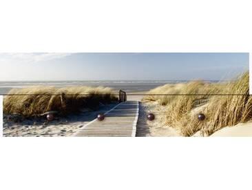 Artland Wandgarderobe »Eva Gruendemann: Nordseestrand auf Langeoog Steg«, 30 x 90 x 2,8 cm, Naturfarben