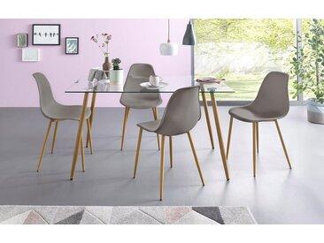 Essgruppe, Eckiger Glastisch mit 4 Stühlen (Kunststoffschale), grau, Tisch 140 cm, Kunststoffschale hellgrau