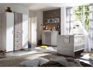 Komplett Babyzimmer »Helsinki« Babybett + Wickelkommode + Kleiderschrank, (3-tlg.) in vintage grau/Pinie NB weiß, weiß, vintage grau/ Pinie NB weiß