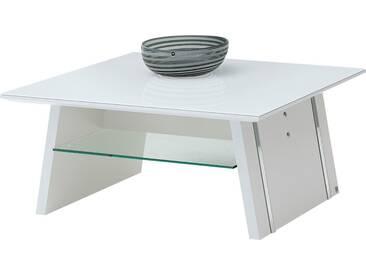 LEONARDO Couchtisch »CUBE«, mit Ablage, mit feinen Chromakzenten, Breite 90 cm, weiß, Tischplatte: Sicherheitsglas, weiß
