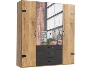 Fresh To Go Kleiderschrank »Detroit«, natur, Breite 200 cm, 4-türig, Höhe 218 cm, Raw Steel+Metall